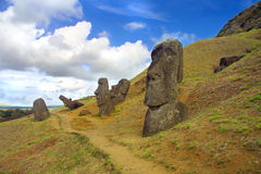 Large Monoliths at Easter Island. Standing Moaia at Rapa Nui, Easter Island. These Monoliths were taken at the Rano Raraku quarry royalty free stock images