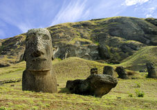 Large Monoliths at Easter Island. Moaia at Rapa Nui, Easter Island. These Monoliths were taken at the Rano Raraku quarry royalty free stock photos