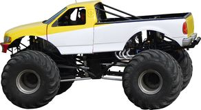 Large monster truck. A view of a large monster truck isolated on white background. Clipping path included royalty free stock image