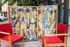 Large mosaic panels. Freely accessible for examination of the exposition of mosaic art in the courtyard of residential buildings Royalty Free Stock Images