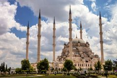 Large mosque with six minarets, Adana, Turkey Stock Photo