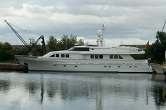 Large motor yacht. In dock Royalty Free Stock Images