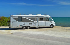 Large Motorhome On The Beach Royalty Free Stock Photos