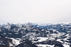 Large mountains covered with snow and trees Royalty Free Stock Images