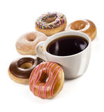 Large Mug of Coffee or Tea with 5 Different Varieties of Donuts royalty free stock photography