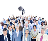 Large Mullti-ethnic Group of Business People. With microphone royalty free stock photos