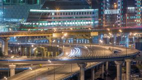 Large multi-level interchange of Third Ring Road timelapse. Modern industrial cityscape of Moscow.