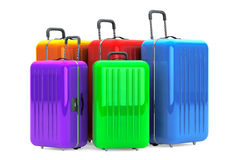 Large Multicolour Polycarbonate Suitcases Royalty Free Stock Photo