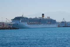 Large multideck cruise liner in the port of Heraklion on the island of Crete stock photo