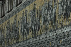 Large mural of a mounted procession of the rulers of Saxony Royalty Free Stock Images