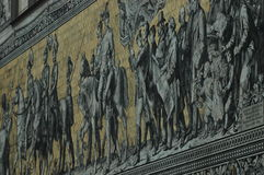 Large mural of a mounted procession of the rulers of Saxony Royalty Free Stock Photography
