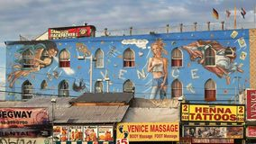 Large mural on the ocean front walk in Venice Beach