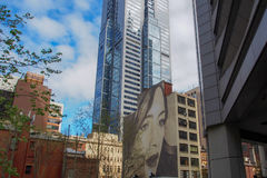 Large mural of a woman. A Large mural of a woman painted on the side of a building, Melbourne Stock Images