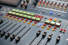 Large Music Mixer desk. At he Concert Royalty Free Stock Photo