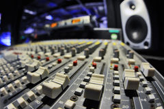 Large Music Mixer desk. Macro view Stock Photography
