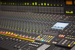 Large Music Mixer desk in recording studio. Closeup Stock Photo