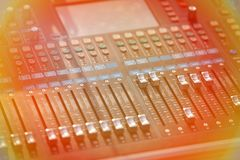 Audio mixer sound Mix Control. Large Music Mixing desk equipment equipment sound mixer control stock photos