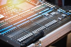Audio mixer sound Mix Control And microphone. Large Music Mixing desk equipment equipment sound mixer control royalty free stock photo
