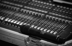 Audio mixer sound Mix Control And microphone. Large Music Mixing desk equipment equipment sound mixer control royalty free stock photos