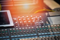 Audio mixer sound Mix Control. Large Music Mixing desk equipment equipment sound mixer control stock photo