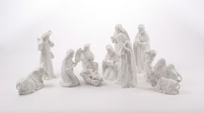 Large Nativity Scene. A large nativity scene including animals, the 3 Kings, a shepherd, an angel and the Holy Family.  Figures are white ceramic photographed on Stock Photography