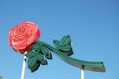 Neon Rose Sign in Portland, Oregon. This is a large neon rose sign that symbolizes Portland, Oregon stock photo