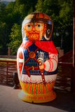 Large nested doll in the form of a Russian warrior. Sochi, Russia - August 20, 2016: Large nested doll in the form of a Russian bogatyr warrior with the Stock Images