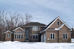 Large New Home. A newly constructed large home in a suburban development Royalty Free Stock Photo
