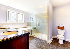 Large nice lavender bathroom with nice shower. Tub and sink royalty free stock photos