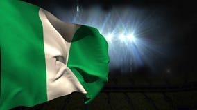 Large nigeria national flag waving stock video footage