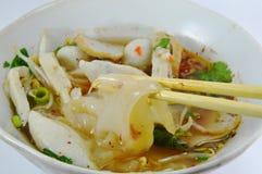 Large noodle on chopstick Royalty Free Stock Image