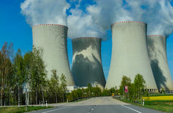 Large nuclear power plant. An image of the large and majestic cooling towers of a nuclear power and energy plant in Czech republic in Europe. Image taken on a Royalty Free Stock Photos