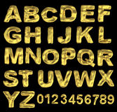 A large number of 3d Gold alphabet spelling art ar Stock Photo