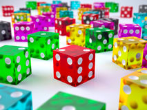 Large number colored glass dices Stock Image