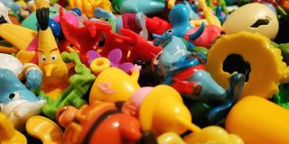 A large number of colored toys royalty free stock photos