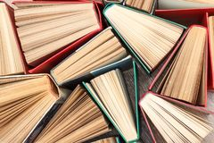 Large number of colorful books. Used hardback books. View from a. Bove. Education background stock photography