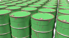 Large number of dirty worn scratched barrels Royalty Free Stock Photo