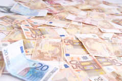 Large number of euro notes Stock Photo
