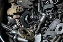 Large number of metal parts Stock Photo