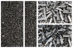 Large number of metal parts and screws. Royalty Free Stock Images