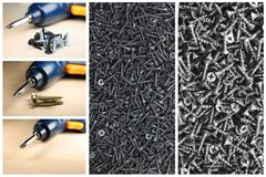 Large number of metal parts and screws. Stock Photo