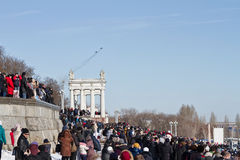 A large number of people came to the Central promenade to see th Royalty Free Stock Image