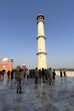 Large number of people visit the white marble mausoleum Taj Mahal in Agra,India Royalty Free Stock Images