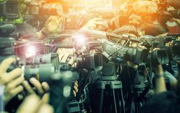 Large number of press and media reporter in broadcasting event royalty free stock image