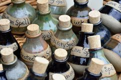 Large number of spell bottles royalty free stock images