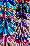 Large number of threads painted in different colors and shades i stock photography