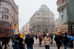 Shopping street Graben in winter fog, Wien Stock Photo