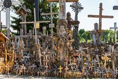 Hill of Crosses in Siauliai, Lithuania. A large number of wooden crosses and crucifixes at the Hill of Crosses in Siauliai, Lithuania. Hill of Crosses is a Royalty Free Stock Images