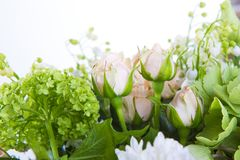 A large number of yety, a large lush bouquet of snowdrop, rose, bell and peony with greens in a large long stylish stock image