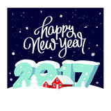 Large numbers 2017 and red houses. Quote Happy New Year. Great holiday gift card. Large numbers 2017 and red snow-covered houses. Vector illustration on dark Royalty Free Stock Photo